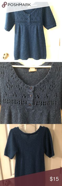 Delia's tunic sweater Short sleeve, 3 Button with knit cut outs. Great condition dELiA*s Sweaters Crew & Scoop Necks