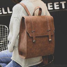 Retro Matte Square PU Metal Lock Match Brown Large Scrub High School Backpack