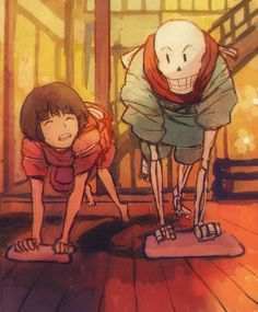 papyrus and frisk - spirited away