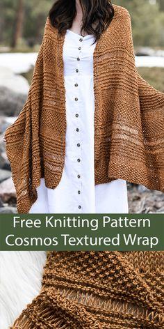 Free Knitting, Baby Knitting, Knitting Patterns, Knitting Kits, Knitting Ideas, Knitting Projects, Knit Wrap Pattern, Free Pattern, Easy Stitch