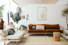 Small living room decor ideas that will make your interior feel larger and bring a stylish update to your living space. See the best designs for your home. Retro Living Rooms, Home Living Room, Living Room Furniture, Living Room Decor, Living Spaces, Small Living, Home Design, Slow Design, Interior Design Living Room