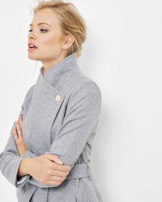 Short wrap coat - Grey Marl   Jackets & Coats   Ted Baker UK