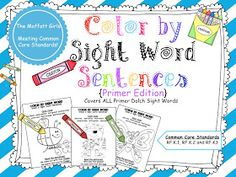 The Moffatt Girls: Color by Sight Word Sentences and a FREEBIE!