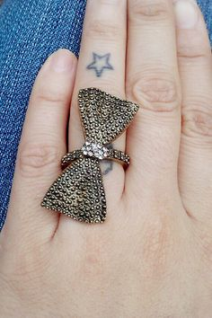Bow ring with rhinestones bronze Tone  #BidOnTophatter