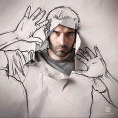 """Sébastien Del Grosso, kendi portrelerini, İllüstrasyon ile birleştirerek birbirinden ilginç çalışmalar yaratıyor. Bunlara """"Hayatın Eskizleri"""" adını vermiş."""