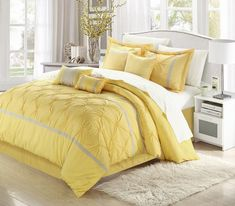 Solid pleating Technique with tone on tone coloring piecing. This opulent set offers character and a sense of style that will sure add a sophisticated look alongside simplicity. Soft Yellow & Grey tones add a touch of color to this elegantly simplified look. Yellow Gray Bedroom, Grey Bedroom Design, Bed Design, House Design, Yellow Bedrooms, Grey Yellow, Bedroom Designs, Color Yellow, Yellow Bedroom Accessories