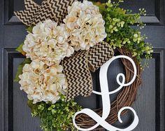 BEST SELLER Cream Hydrangea Wreath. Burlap Wreath. by WreathDreams