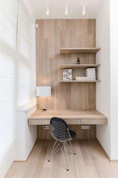 Simple wood office nook desk nook, home office decor, office nook. Desk Nook, Office Nook, Desk Space, Study Office, Small Workspace, Workspace Desk, Wall Desk, Desk Chair, Window Desk