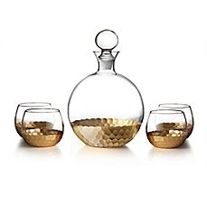 image of Fitz and Floyd® Daphne 5-Piece Large Whiskey Decanter Set in Gold