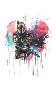 Star Wars Boba Fett aquarelle Print