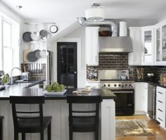 Transitional U-shaped Grey #kitchen with white cabinets by Urrutia Design (Cultivate.com)