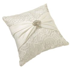 Lillian Rose Vintage Lace Ring Bearer Pillow, Cream : This cream satin ring bearer pillow is beautifully crafted with an updated antique look. Wedding Pillows, Ring Pillow Wedding, Lillian Rose, Vintage Lace Weddings, Ring Bearer Pillows, Toss Pillows, Lace Ring, Cushion Ring, Beautiful Wedding Rings