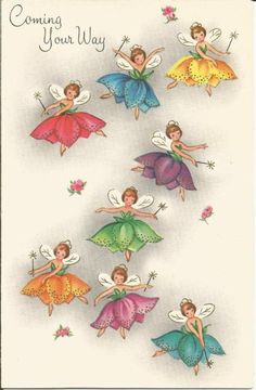 Vintage Get Well Greeting Card Fairies in Flowers Unused No Envelope Vintage Greeting Cards, Christmas Greeting Cards, Birthday Greeting Cards, Greeting Cards Handmade, Vintage Postcards, Vintage Images, Christmas Greetings, Happy Birthday Flower Bouquet, Merry Christmas Quotes