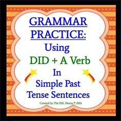 "If your English Language Learners consistently say things like ""I did went to the store"" or ""I didn't ate breakfast,"" then use this product to teach them the correct way to use ""did + a verb"" in simple past tense sentences. Includes a chart to explain the correct form, writing and speaking tasks for students, plus an answer key. $"