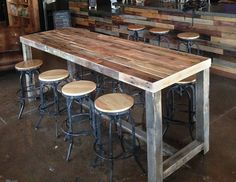 reclaimed wood bar restaurant counter community rustic custom kitchen coffee conference office meeting table hightop high top tables, wood chair bar dining rooms - Wood bar table, Bar dining table, Re - Patio Bar Set, Pub Table Sets, Wood Bar Table, Diy Table, Rustic Pub Table, Wooden Bar, Outdoor Bar Table, Wood Tables, Farmhouse Table