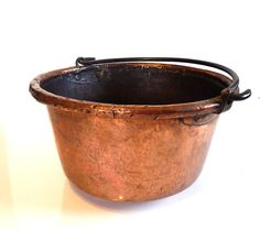 Antique Copper Cauldron French from 1800s | Very Large Solid Copper | Artisanally Wrought
