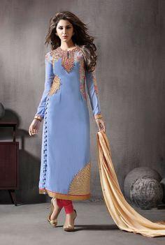Side Button Stylish Pakistani Suit