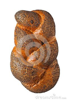A loaf of white bread in poppy sprinkles isolated on white background.