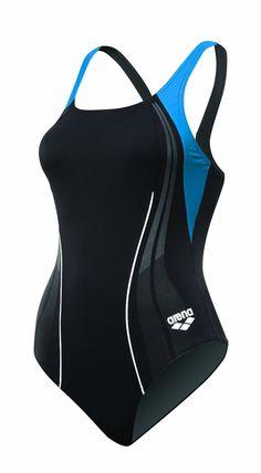 Arena Girl's Mainsail Jr. Race Polyester Splice V-Line Back Swimsuit, (speedo, swimsuit, one-piece, sport swimwear, one piece, athletic, black, swim gear, sports, one-piece suits)