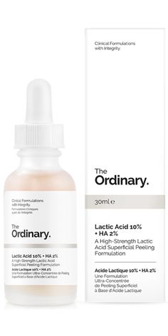 The Ordinary Lactic Acid 10% + Hyaluronic Acid 2% is a high-strength Lactic Acid superficial peeling