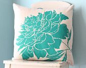 Peony Flower Linen Pillow Cover