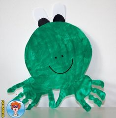 Kikker van handafdruk - knutselen - Juf Jannie Tweety, Dinosaur Stuffed Animal, Crafts For Kids, Christmas Ornaments, Toys, Holiday Decor, Prints, Animals, Google