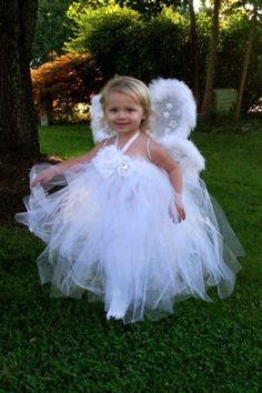 Angel Tutu Halloween Costume with Wings (would just need a white long sleeve shirt and pants for here)