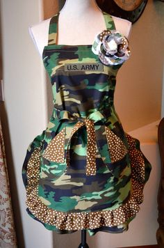 Your in the Army Now... Military Inspired Camouflage Print  Apron With Pin. $28.95, via Etsy.