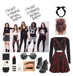 """""""With Fifth Harmony"""" by lexixoxoespinosa ❤ liked on Polyvore featuring River Island, Mini Cream, Oasis, Topshop, RyuRyu and MLC Eyewear"""