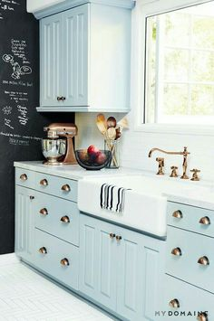 Copper accented kitchen with pastels..adore this ♡ compliments of my domains