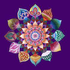 Mandala de la unidad, mandala firmado de arte hecho a mano impresión sobre tela.  nuevo: se puede elegir el color del fondo, verde negro o morado!  El Mandala unidad expresa a nuestro ser único entre la sociedad humana. Cada hoja refleja una personalidad diferente, combinando todos junto en un complejo hermoso, vibrante flor.  Mandala de la unidad representa que nuestra sociedad es un complejo de varios individuos y grupos que son deferentes unos de otros en sus necesidades, creencias…
