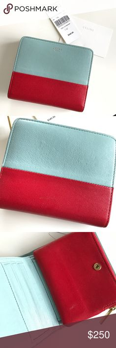 Celine wallet bicolor red sky light blue AUTHENTIC 100% Authentic Celine wallet! Comes with dust bag and tags. Used. Beautifully smooth and supple leather. Has a few scratches throughout and a small discoloration on the red inside (please see pictures) hence the amazing price! Measures about 4.5 X 4 inches closed. 8 credit card slots, bills slot, coin pouch with zipper. Beautiful and hard to find combination of red and light blue. Golden Hardware. NO TRADES. Take advantage of this offer! I…