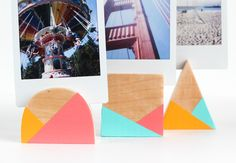 DIY Geometric Photo Holders (click through for full tutorial!)