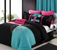 Bedroom : The Remarkable Pink Bedding Sets With Turquoise Style Combined With Black Pillows And Blanket As Well As Modern Bedroom Curtains Plus Modern Bedroom Windows Designing The Comfortable Bed Linens Black. Pink. Turquoise.
