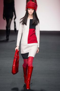 Daks - Fall 2015 Ready-to-Wear - Look 6 of 41: The style lines and graphic prints could remind someone of the 1960's. Austin Powers themes and the exaggerated view of the 60's is seen. 3/2/15