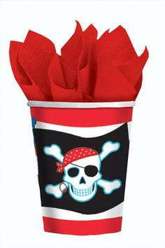 PIRATE PARTY PAPER CUPS - ideal for any pirate party. Great idea for a children's birthday party.
