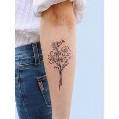 Forget me not, lavender & buttercup bouquet 💐 tattoos tattoo Mini Tattoos, Foot Tattoos, Forearm Tattoos, Finger Tattoos, Cute Tattoos, Black Tattoos, Small Tattoos, Tattoos For Guys, Sleeve Tattoos