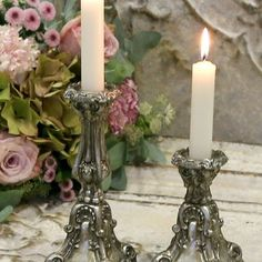 Fransk Stil Gamla Ljusstakar Antiquesilver - Small