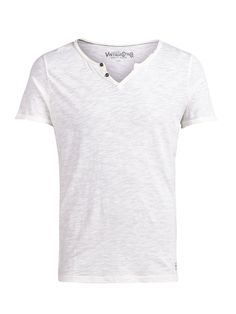 SPLIT NECK T-SHIRT, Cloud Dancer