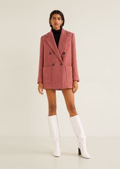 Influencers Are Going Wild For This Mango Skirt Suit Mango Coats, Mango Suit, Houndstooth Fabric, White Suits, Cozy Fashion, Fashion Boots, Kimono Dress, Neue Trends, Coats For Women