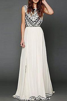 Backless Geometric Print Chiffon Maxi Dress
