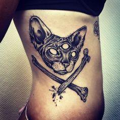 Sphynx Cat Tattoo, artist unknown