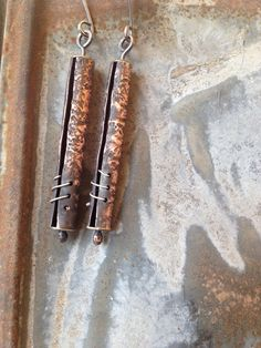 rustic secrets: unusual oxidized copper earrings with hand crafted metal bead and sterling silver ear wires - studio luna verde Copper Earrings, Copper Jewelry, Wire Jewelry, Jewelry Crafts, Jewelry Art, Jewelery, Jewelry Design, Mixed Metal Jewelry, Metal Beads