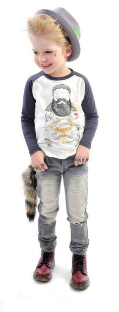 Illustrated Man tee, Strummer jeans and Freddy Fedora   Rock Your Kid Winter 2014   Boys' fashion   www.rockyourbaby.com