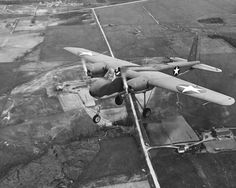 TDN-1 attack drone was an early unmanned combat aerial vehicle. On the photo on its first (piloted) test flight from Traverse City, Michigan, United States, 19 May 1943