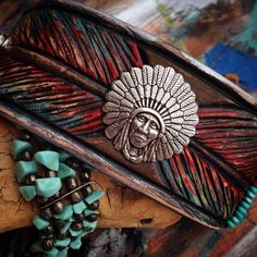 Colorful Carved Leather Indian Feather Cuff Bracelet