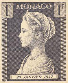 Princess Grace of Monaco postage stamp, 1957