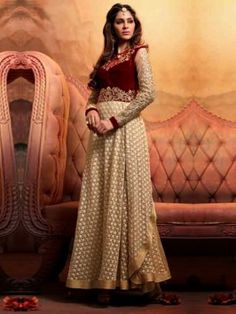 Light Yellow Georgette Anarkali Suit With Resham And Zari Embroidery Work