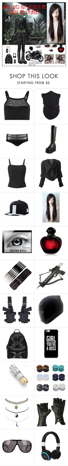"""What does not destroy me makes me stronger"" by cassiegrimes ❤ liked on Polyvore featuring Bula, Sweaty Betty, Concord, Yohji Yamamoto, Christian Dior, S.W.O.R.D., Kawasaki, DK, MCM and Caso"
