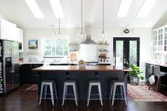 House Tweaking, Dana Miller's Kitchen, Ikea Black Kitchen Cabinets. Tolix Stools | Remodelista
